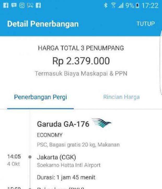 Tiket Pesawat Yang Diduga Untuk Penerbangan Bupati Rohul Nonaktif Ke