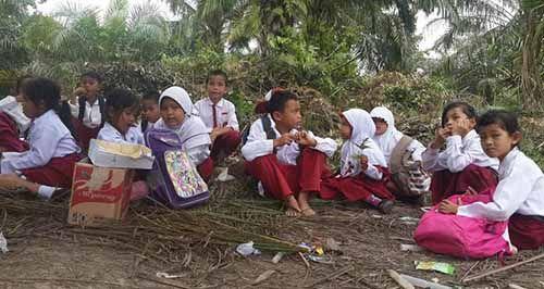 Ironi Sekolah Satu Atap di Desa Maredan Kabupaten Siak yang Tak Punya Air